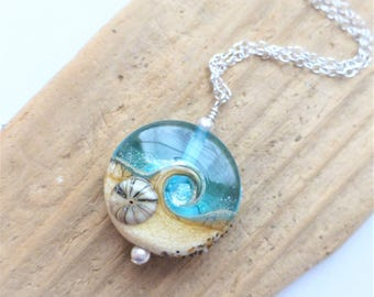 Beach Necklace, Ocean Wave Jewelry, Aqua Blue Glossy Wave Necklace, Lampwork Sea Glass Necklace, Beach Wedding, Gift for Her, Sterling
