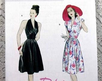 Butterick 5209, Misses' Halter Dress Sewing Pattern, Cap Sleeve Dress Pattern, Reproduction 1947 Sewing Pattern, Misses' Size 6 - 12, Uncut