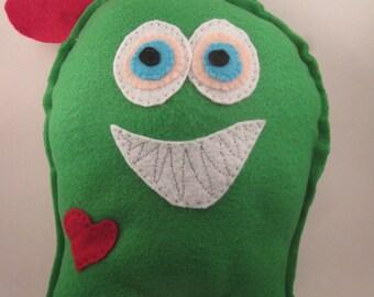 Weird green monster toy sewn felt smiling monster doll creepy plush