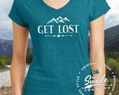 Get Lost Ladies' Triblend V-Neck T-Shirt- adventure, camping, outdoors, woods, wanderlust, hiking, arrows, women's v-neck