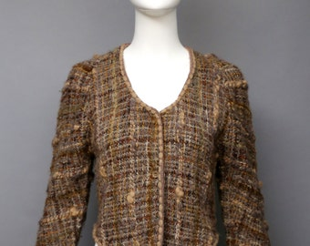1980s GEOFFREY BEENE fall oatmeal nubbly wool earth tones knit cardigan sweater top vintage 80s 6