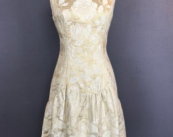 Gold and Ivory Drop Waist Party Dress