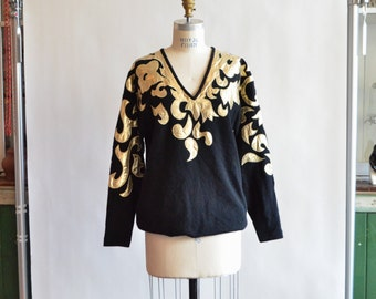 SALE / Vintage 1980s WOOL and gold applique pullover