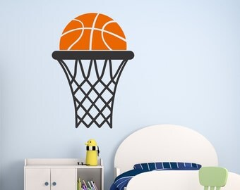 Basketball Wall Decals, Basketball and Hoop Decal, Basketball Decal, Basketball Wall Sticker, Basketball, Kids Room Decals, Wall Decals