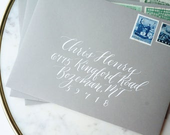 Calligraphy Hand Addressed Gray Envelopes with White Ink - Handwritten Modern Wedding and Event Calligraphy