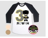 Batman Birthday Shirt Personalized Just for You Raglan Shirt You Pick Skin Tone