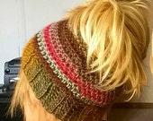 Crochet Messy Bun Pony Tail Hat Landscape