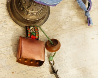 Vintage 80s-90s Swiss Cow Bell Wind Chime Boho Ethnic Folk Peasant