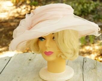 Vintage 60s Style Pink Wide Sheer Hat By Betmar New York/Retro/Mid Century/Wedding