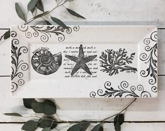 3021coa-w Personalized Wedding Pottery, Coastal Seashell Rectangle Platter, Ceramic Destination Starfish Wedding Plate, Coastal Couple Gift