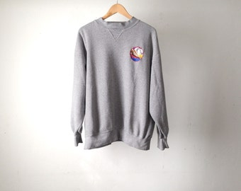 vintage STRIPED faded grey slouchy oversize warm LARGE sweatshirt embroidered patch TOUA top