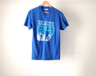 vintage 1987 MAUI hawaii faded blue soft t-shirt top