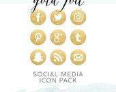 Gold Foil Social Media Icon Pack