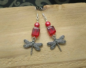 Red Cube Dragonfly Sterling Silver Earrings, Red Dragonfly Sterling Earrings, Dragonfly Red Earrings
