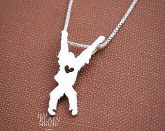 Orangutan, tiny sterling silver necklace, handmade animal jewelry