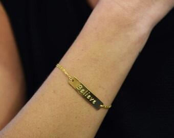 Believe Bracelet, Believe Jewelry, Word Bracelet, Inspiration Bracelet, Mantra Bracelet, Motivation Bracelet, Positive Inspiration, Quote