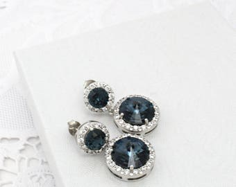 Navy Blue Wedding Earrings, Dark Blue Drop Earrings, Cubic Zirconia Earrings, Blue Bridesmaid Jewelry, Blue Bridal Earing, Montana Swarovski