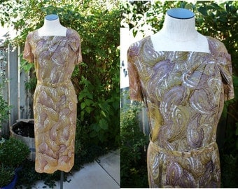 1950's/60's Paisley Dress Lavender, Gold White Belted Size Small Medium Vintage Retro 50s/60s Hipster Office Wiggle