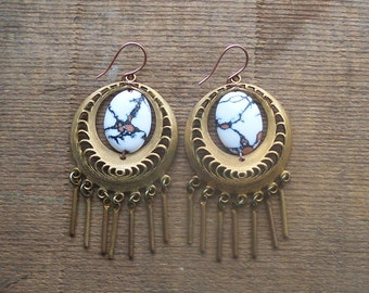 brass earrings / dangle earrings / vintage brass / MATRIX BOHO DANGLES