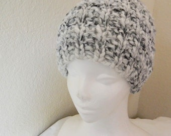 Black and White Handknit Beanie Hat for teen boys, men's beanie