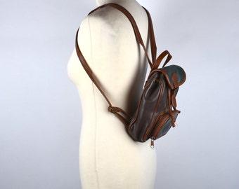 Small Multicolor Leather Backpack, Leather Sling Pack, Shoulder Bag
