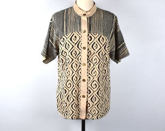 Black and Tan Batik Short Sleeve Blouse