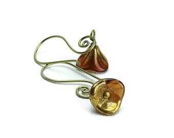 Niobium Earrings Bronze Flowers on Swirly Gold Niobium Earwires, Hypoallergenic Mauve Flower on Gold colored Niobium Earrings, No Nickel