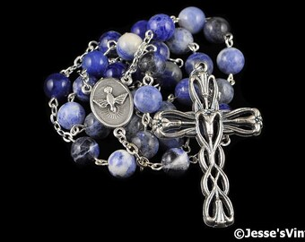 Anglican Rosary Beads Blue Purple Sodalite Natural Stone Prayer Beads Silver Christian Episcopal