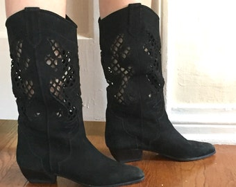 Vintage Black 80's Boots, Soft Suede with Decorative Cut Outs, Low Heel,  Leather, Size