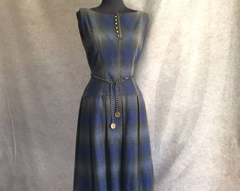 Vintage Plaid Wool Dress, Sleeveless Dress, Gray and Blue, Jumper, Fitted, 50's Dress, Size Small, Bust 34, Waist 27, SALE