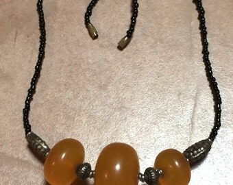Vintage 80s - Large frosted  amber like beads on semi-choker necklace