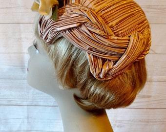 Vintage tan satin hat - satin cocktail hat - tan satin evening hat - hat with rose - dressy hat - formal hat - ruched satin - wedding hat -