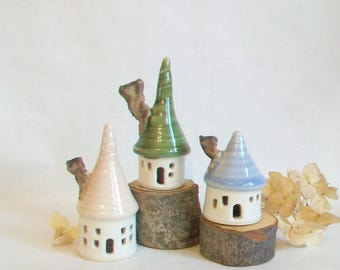 Fairy Houses - Garden Fairy Houses -Set 3- Pastel  Colors - Pink, Blue and Green Roofs - Actual Set - Ready to Ship for Mothers Day