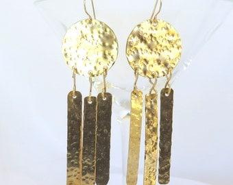 Gold Fringe Earrings, Hammered Tribal Chic Long Earrings, Belly Dance Earrings, Gift for her