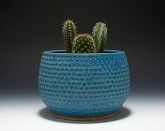 Hand carved stoneware planter / bowl with turquoise glaze 16-073
