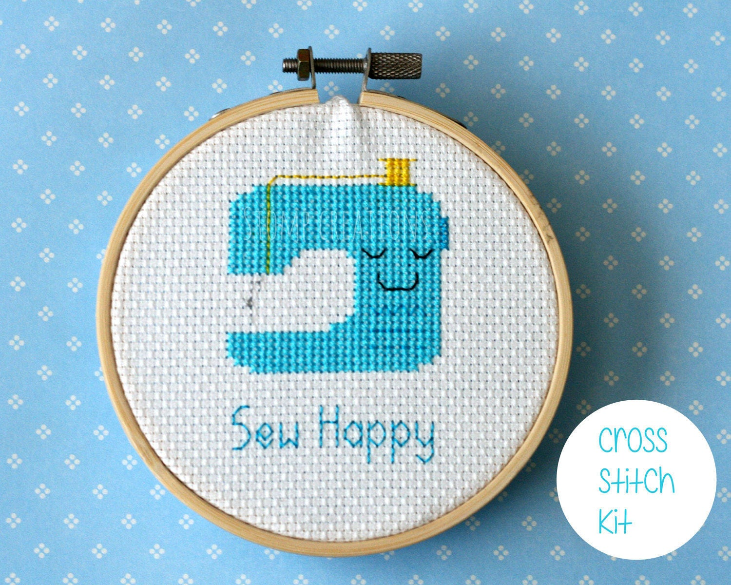 Sewing machine cross stitch kit sew happy cute