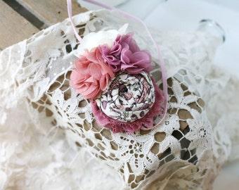 Tea Rose - vintage pink dusry rose mauve chiffon rosette headband bow