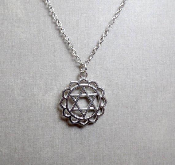 Silver Plated Heart Chakra Necklace - Chakra Charm Necklace - Heart Chakra Pendant