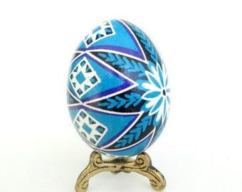 Pysanka egg in blue perfect gift for baby boy first Christmas ornament that can be personalized with his name and date
