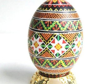 Ukrainian gifts traditional Hutsul design pysanka gift for mom who loves Easter eggs flowers and handmade all in one 100 percent handmade