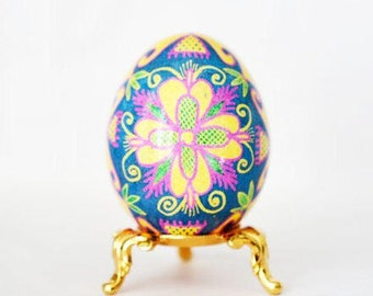 Summer flowers beautiful floral pattern pysanka egg Ukrainian Traditional gifts for wedding birthday anniversary gifts blue yellow pastels
