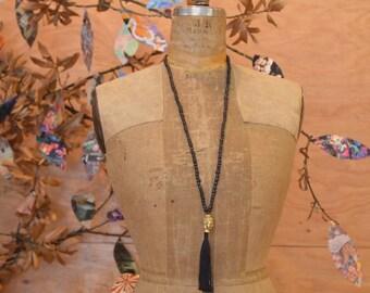 Stunning Black Beaded Brass Buddha Long Necklace With Fringe Detail