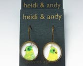 Tropical Birds, Bronze Dangle Earrings, Green, Yellow, Asymmetrical, French Lever Back Loop, Watercolor, Jewelry, Gift