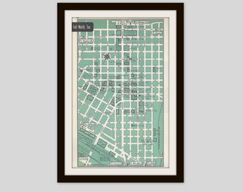 Fort Worth Texas Map, City Map, Street Map, 1950s, Green, Black and White, Retro Map Decor, City Street Grid, Historic Map