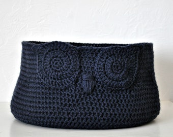 Custom Owl Basket Crocheted Bin Navy Blue Baby Room Decor Woodland Nursery Decor Home Organizer