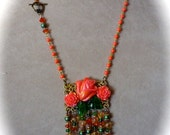 Pre Holiday sale SALE - Neo-Victorian Pendant Necklace and Earrings Coral Pink and Green with Beaded Dangles