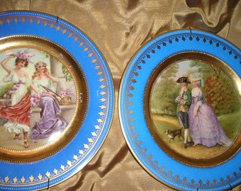 Fabulous French Chic Beautiful Romantic Hand Decorated Plates/Platters Wall Hanging Art.