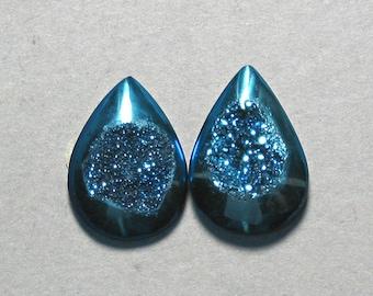 Agate Druzy blue drop pear cabochons two 15X20mm designer cab C1