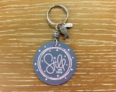 Christian Key Chain Extra Glossy Handbag Charm Double Sided  Be Still and Know  Psalm 46:10 Bible Verse Luggage Tag