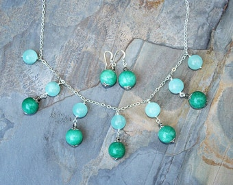 Turquoise Jewelry Set, Jade Jewelry Set, Stone Jewelry Set, Aqua Jewelry Set, Multicolor Jewelry Set, Holiday Jewelry Set, For Her